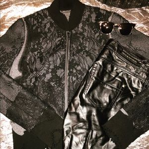 JNBY Lace Overlay Wool Zip Up Jacket Size M